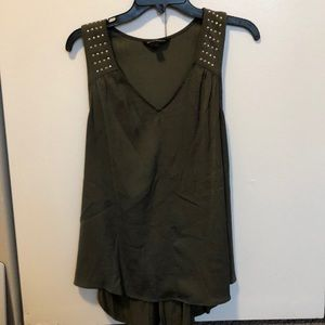 Olive razorback tank top with silver stud detail